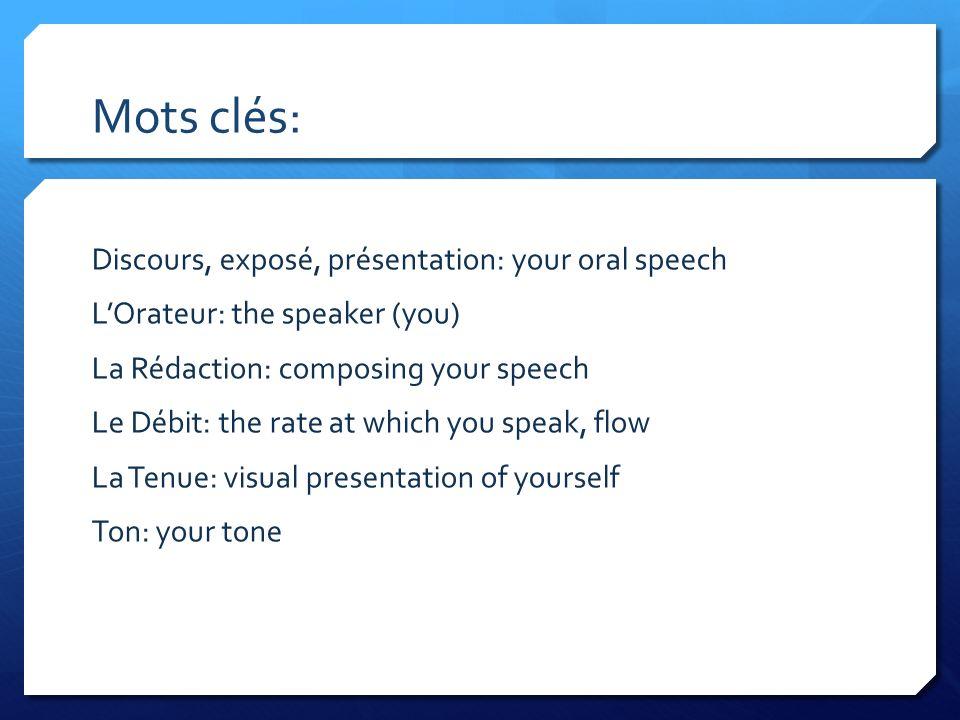 Mots clés: Discours, exposé, présentation: your oral speech LOrateur: the speaker (you) La Rédaction: composing your speech Le Débit: the rate at whic