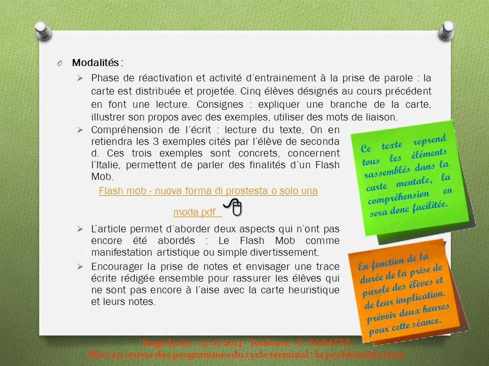 O Modalités : Phase de réactivation et activité dentrainement à la prise de parole : la carte est distribuée et projetée. Cinq élèves désignés au cour