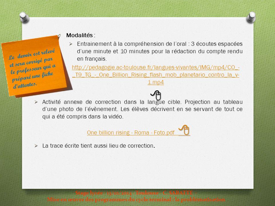 Stage lycée - 13/01/2014 - Toulouse - C. SABATTE - Mise en œuvre des programmes du cycle terminal : la problématisation O Modalités : Entrainement à l