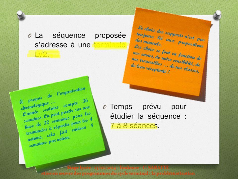 O La séquence proposée sadresse à une terminale LV2. Stage lycée - 13/01/2014 - Toulouse - C. SABATTE Mise en œuvre des programmes du cycle terminal :