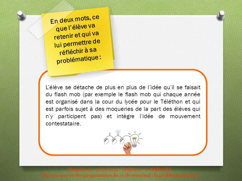 Stage lycée - 13/01/2014 - Toulouse - C. SABATTE Mise en œuvre des programmes du cycle terminal : la problématisation Lélève se détache de plus en plu