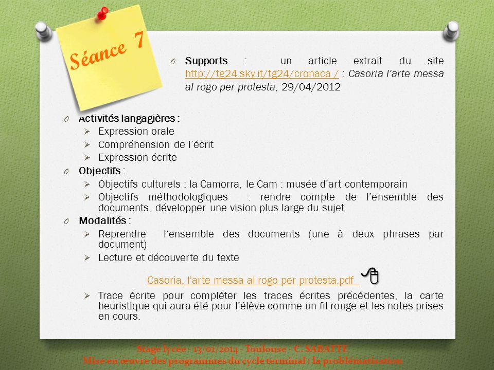 Stage lycée - 13/01/2014 - Toulouse - C. SABATTE Mise en œuvre des programmes du cycle terminal : la problématisation O Activités langagières : Expres