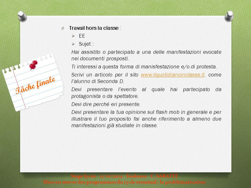 Stage lycée - 13/01/2014 - Toulouse - C. SABATTE Mise en œuvre des programmes du cycle terminal : la problématisation O Travail hors la classe : EE Su