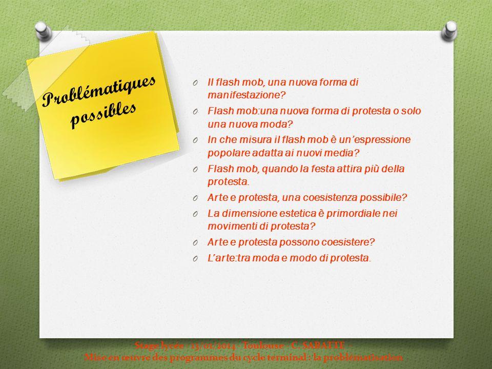 Stage lycée - 13/01/2014 - Toulouse - C. SABATTE - Mise en œuvre des programmes du cycle terminal : la problématisation Problématiques possibles O Il