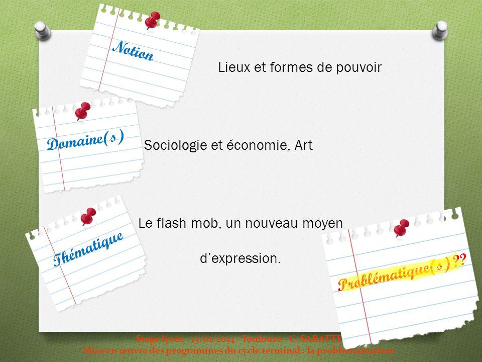 Lieux et formes de pouvoir Sociologie et économie, Art Le flash mob, un nouveau moyen dexpression. Stage lycée - 13/01/2014 - Toulouse - C. SABATTE Mi