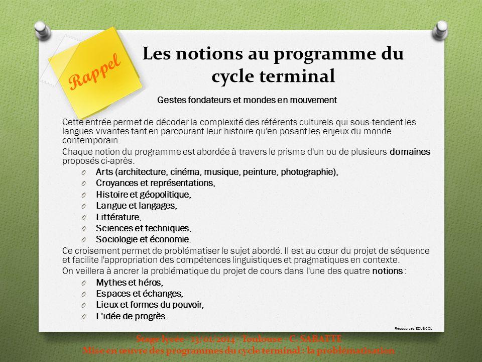 Les notions au programme du cycle terminal Stage lycée - 13/01/2014 - Toulouse - C. SABATTE Mise en œuvre des programmes du cycle terminal : la problé