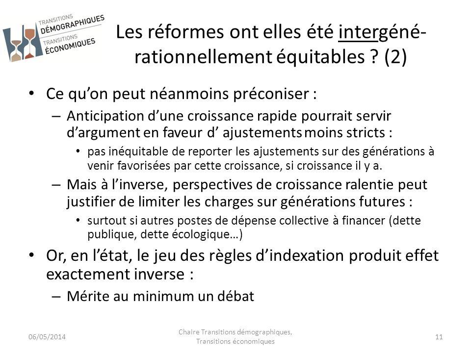 Les réformes ont elles été intergéné- rationnellement équitables ? (2) Ce quon peut néanmoins préconiser : – Anticipation dune croissance rapide pourr