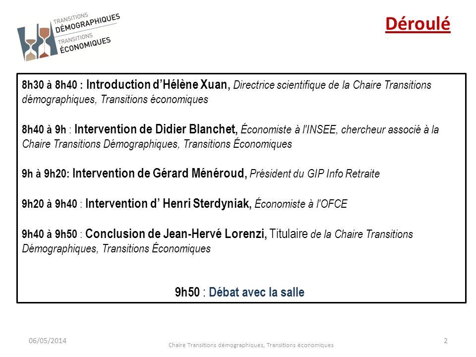 06/05/2014 Chaire Transitions démographiques, Transitions économiques 2 8h30 à 8h40 : Introduction dHélène Xuan, Directrice scientifique de la Chaire