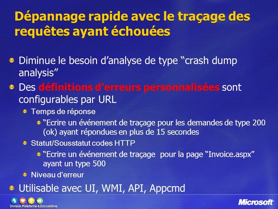 Dépannage rapide avec le traçage des requêtes ayant échouées Diminue le besoin danalyse de type crash dump analysis Des définitions derreurs personnal