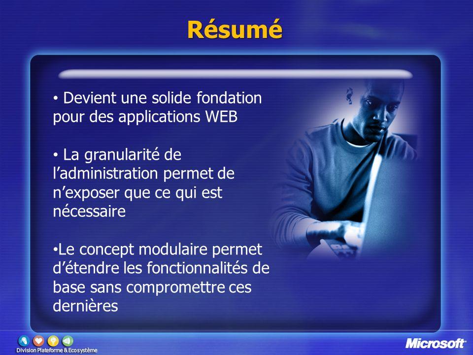 Résumé Devient une solide fondation pour des applications WEB La granularité de ladministration permet de nexposer que ce qui est nécessaire Le concep