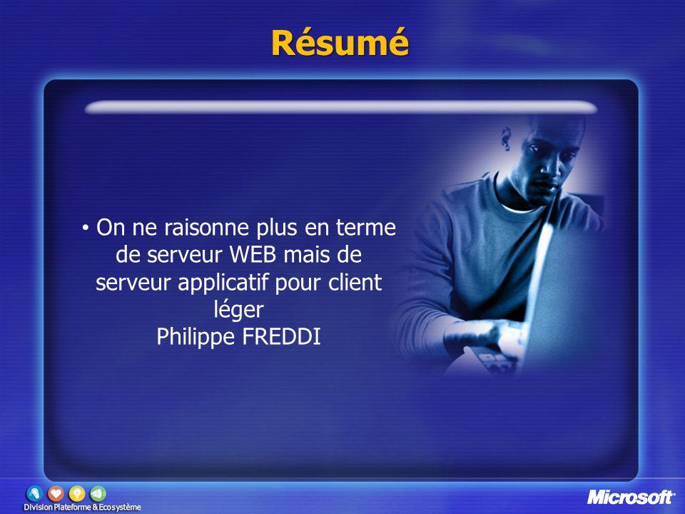 Résumé On ne raisonne plus en terme de serveur WEB mais de serveur applicatif pour client léger Philippe FREDDI