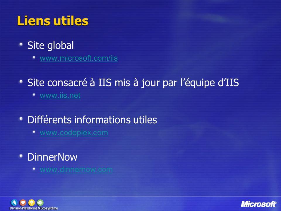 Liens utiles Site global www.microsoft.com/iis Site consacré à IIS mis à jour par léquipe dIIS www.iis.net Différents informations utiles www.codeplex