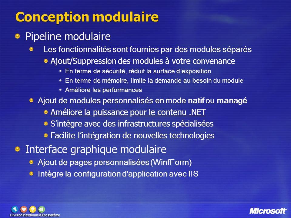 Conception modulaire Pipeline modulaire Les fonctionnalités sont fournies par des modules séparés Ajout/Suppression des modules à votre convenance En