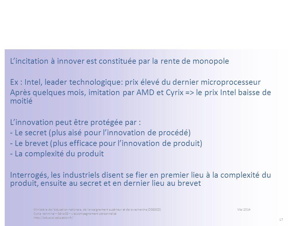 Lincitation à innover est constituée par la rente de monopole Ex : Intel, leader technologique: prix élevé du dernier microprocesseur Après quelques m