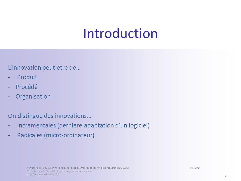 Introduction Linnovation peut être de… -Produit -Procédé -Organisation On distingue des innovations… -Incrémentales (dernière adaptation dun logiciel)