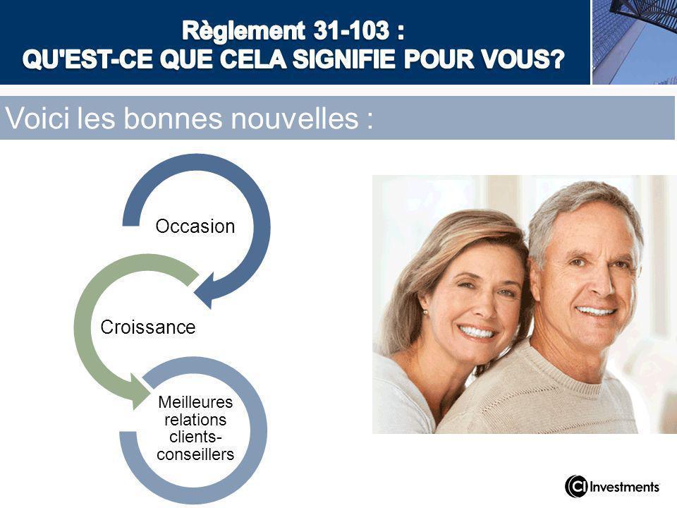 Voici les bonnes nouvelles : Occasion Croissance Meilleures relations clients- conseillers