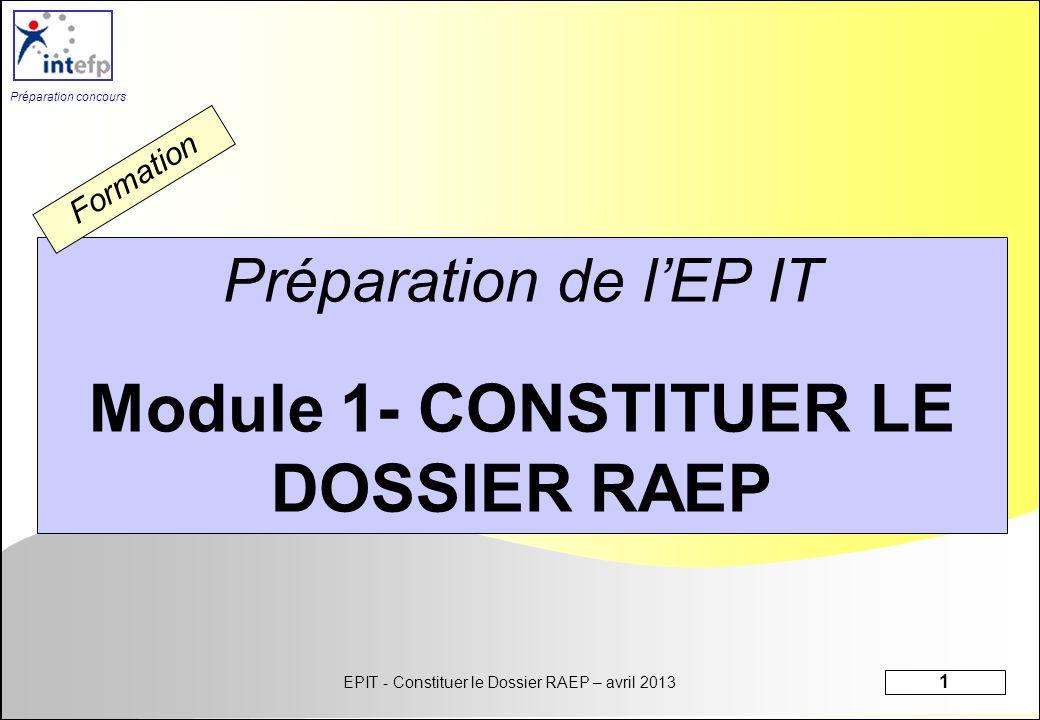 EPIT - Constituer le Dossier RAEP – avril 2013 32 Préparation concours FINALITE DES FORMATIONS Savoir élaborer son dossier RAEP (Reconnaissance des Acquis de lExpérience Professionnelle ) Module 1 Se préparer à lépreuve orale Module 2