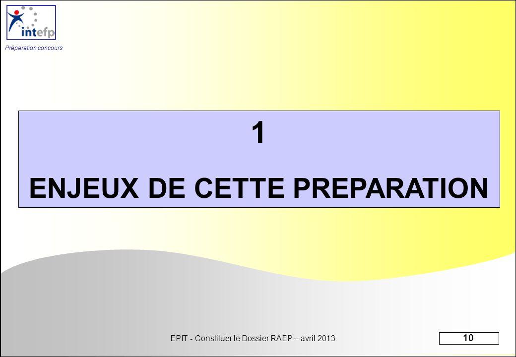 EPIT - Constituer le Dossier RAEP – avril 2013 10 Préparation concours 1 ENJEUX DE CETTE PREPARATION