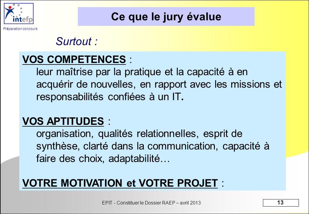 EPIT - Constituer le Dossier RAEP – avril 2013 13 Préparation concours VOS COMPETENCES : leur maîtrise par la pratique et la capacité à en acquérir de