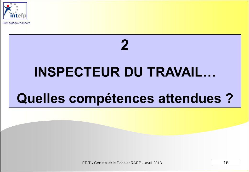 EPIT - Constituer le Dossier RAEP – avril 2013 15 Préparation concours 2 INSPECTEUR DU TRAVAIL… Quelles compétences attendues ?