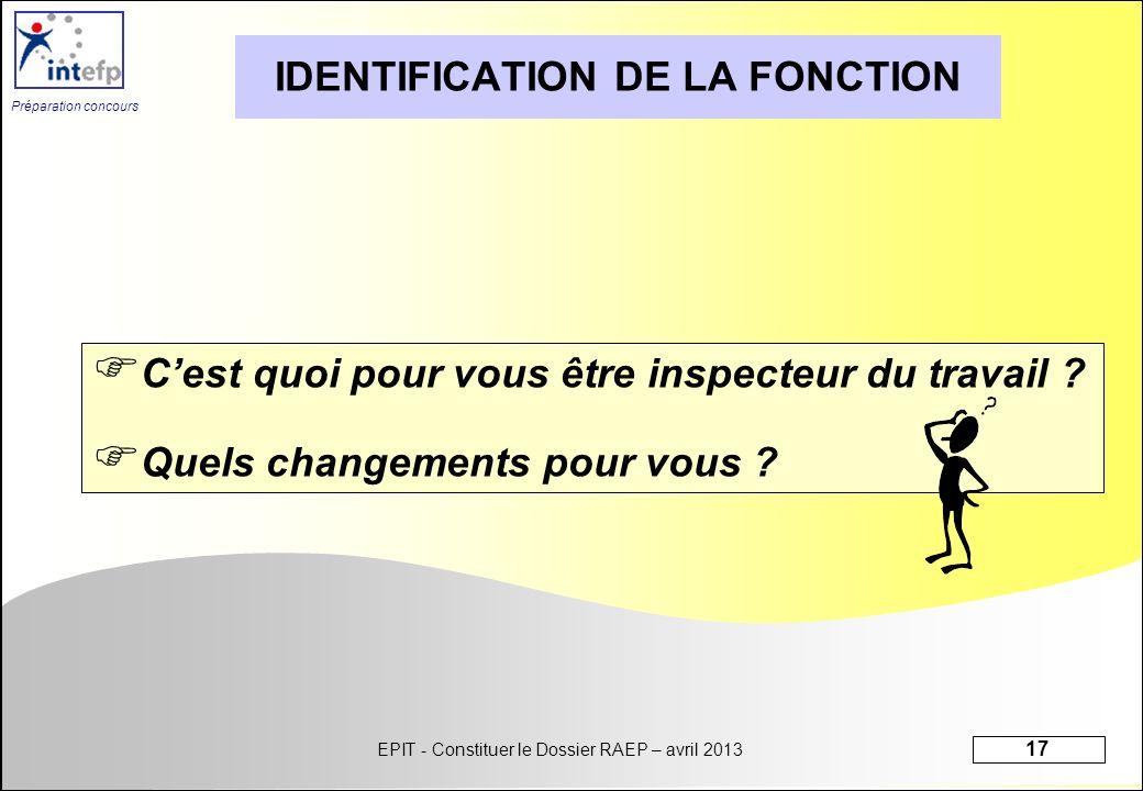 EPIT - Constituer le Dossier RAEP – avril 2013 17 Préparation concours IDENTIFICATION DE LA FONCTION Cest quoi pour vous être inspecteur du travail ?