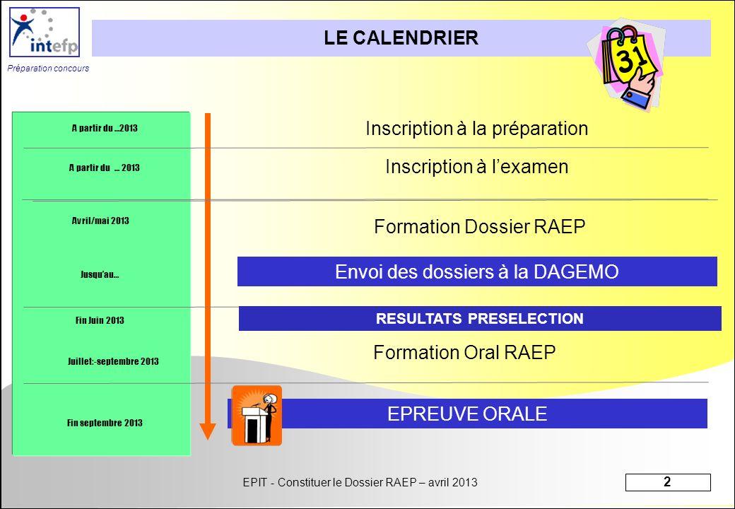 EPIT - Constituer le Dossier RAEP – avril 2013 2 Préparation concours Inscription à la préparation LE CALENDRIER Inscription à lexamen Formation Oral
