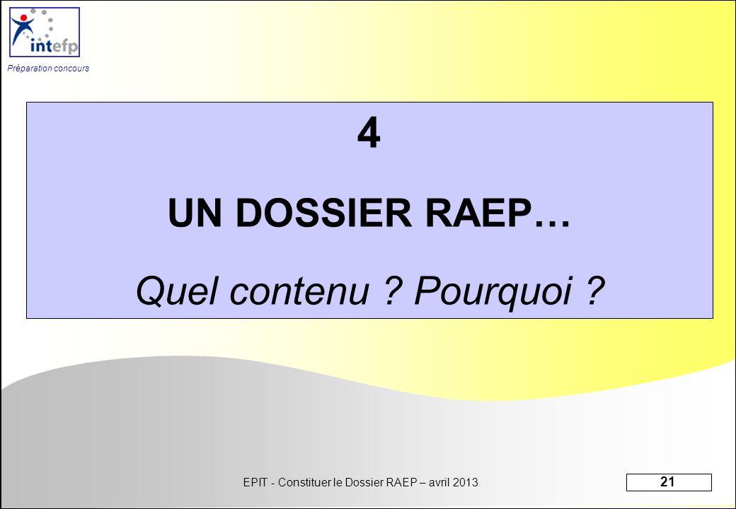 EPIT - Constituer le Dossier RAEP – avril 2013 21 Préparation concours 4 UN DOSSIER RAEP… Quel contenu ? Pourquoi ?