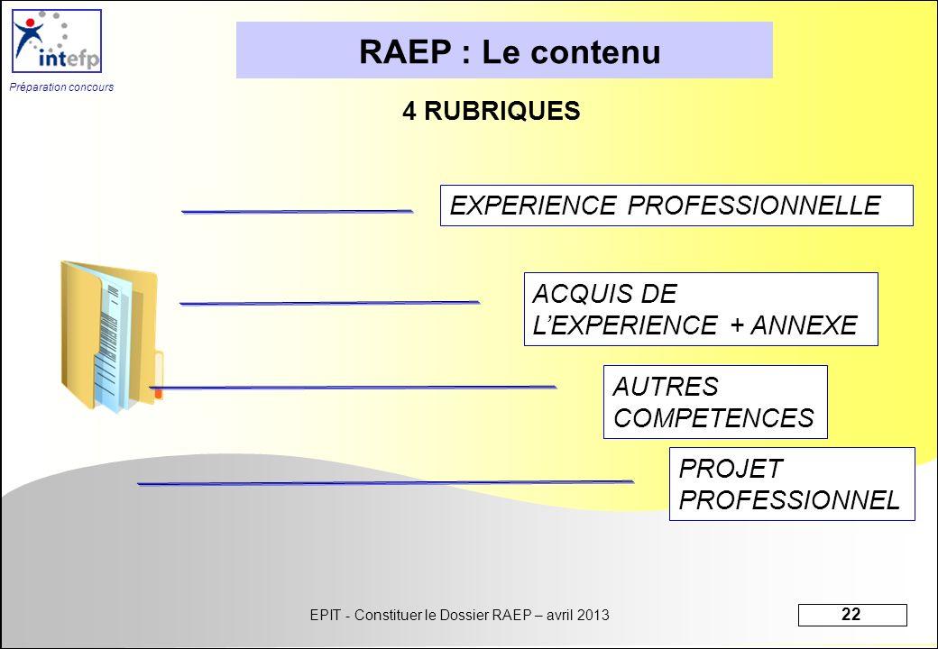 EPIT - Constituer le Dossier RAEP – avril 2013 22 Préparation concours 4 RUBRIQUES RAEP : Le contenu EXPERIENCE PROFESSIONNELLEACQUIS DE LEXPERIENCE +