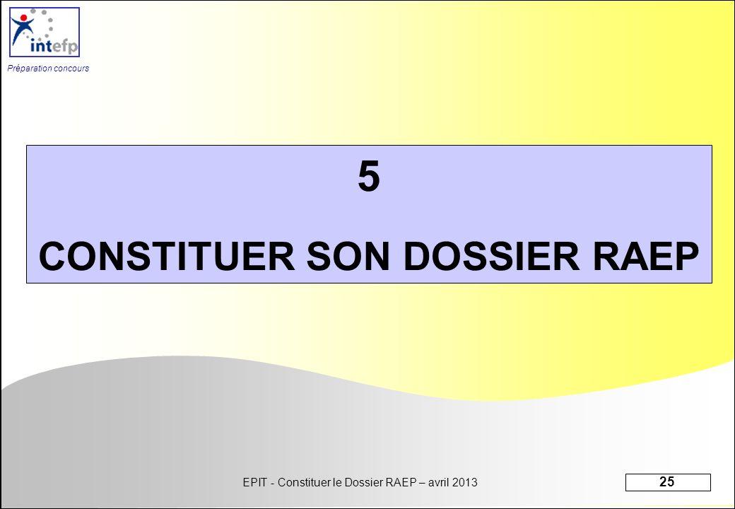 EPIT - Constituer le Dossier RAEP – avril 2013 25 Préparation concours 5 CONSTITUER SON DOSSIER RAEP