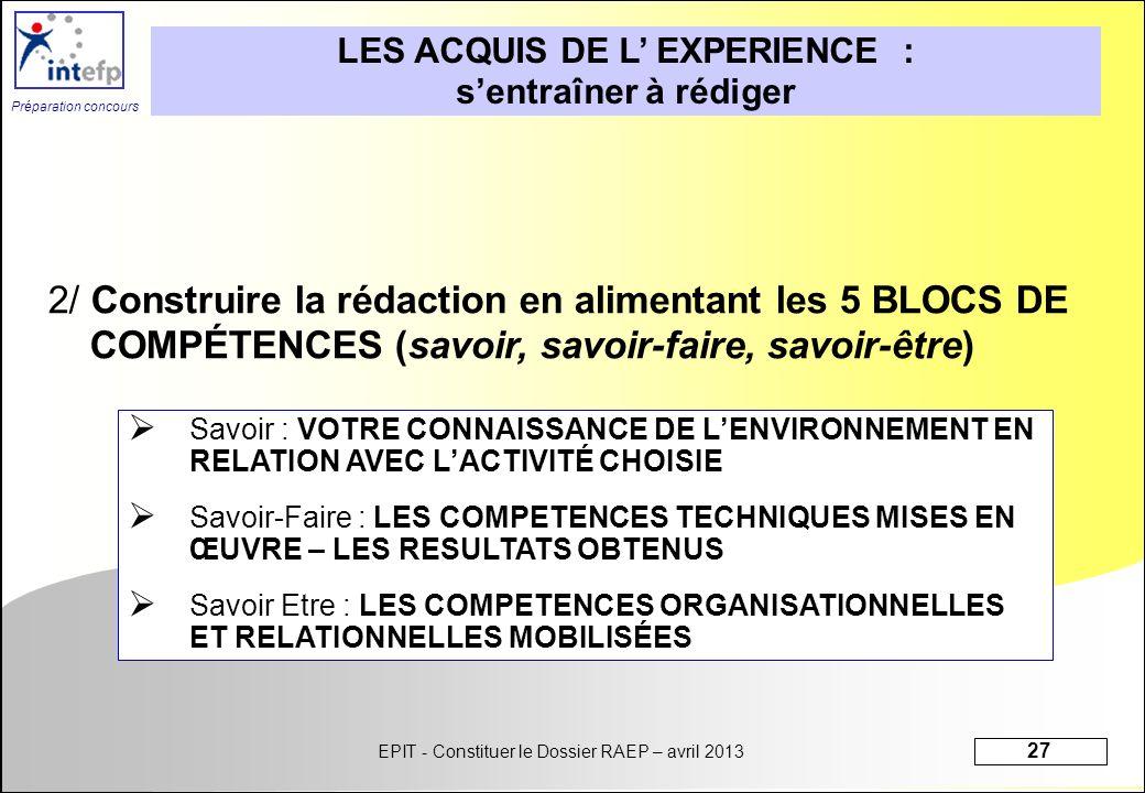 EPIT - Constituer le Dossier RAEP – avril 2013 27 Préparation concours LES ACQUIS DE L EXPERIENCE : sentraîner à rédiger 2/ Construire la rédaction en
