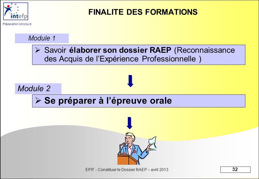 EPIT - Constituer le Dossier RAEP – avril 2013 32 Préparation concours FINALITE DES FORMATIONS Savoir élaborer son dossier RAEP (Reconnaissance des Ac