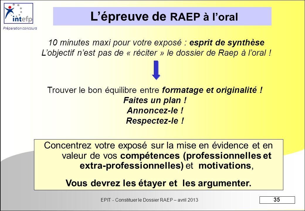 EPIT - Constituer le Dossier RAEP – avril 2013 35 Préparation concours 10 minutes maxi pour votre exposé : esprit de synthèse Lobjectif nest pas de «