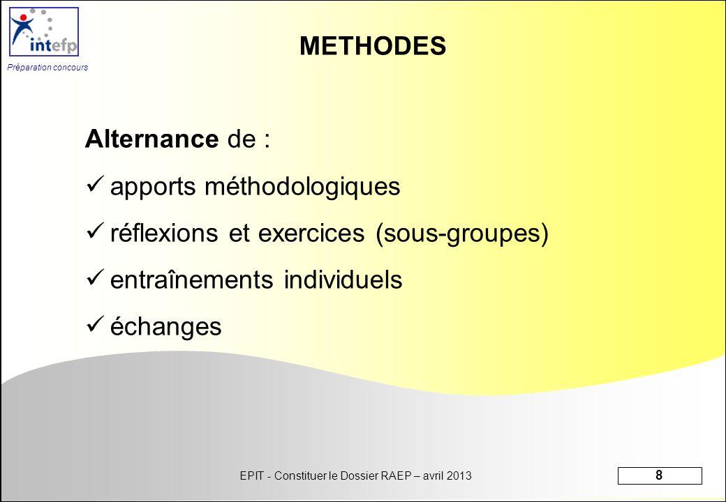 EPIT - Constituer le Dossier RAEP – avril 2013 8 Préparation concours METHODES Alternance de : apports méthodologiques réflexions et exercices (sous-g