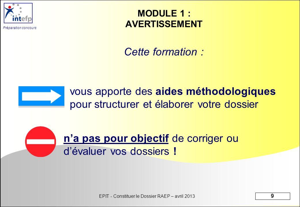 EPIT - Constituer le Dossier RAEP – avril 2013 9 Préparation concours MODULE 1 : AVERTISSEMENT vous apporte des aides méthodologiques pour structurer