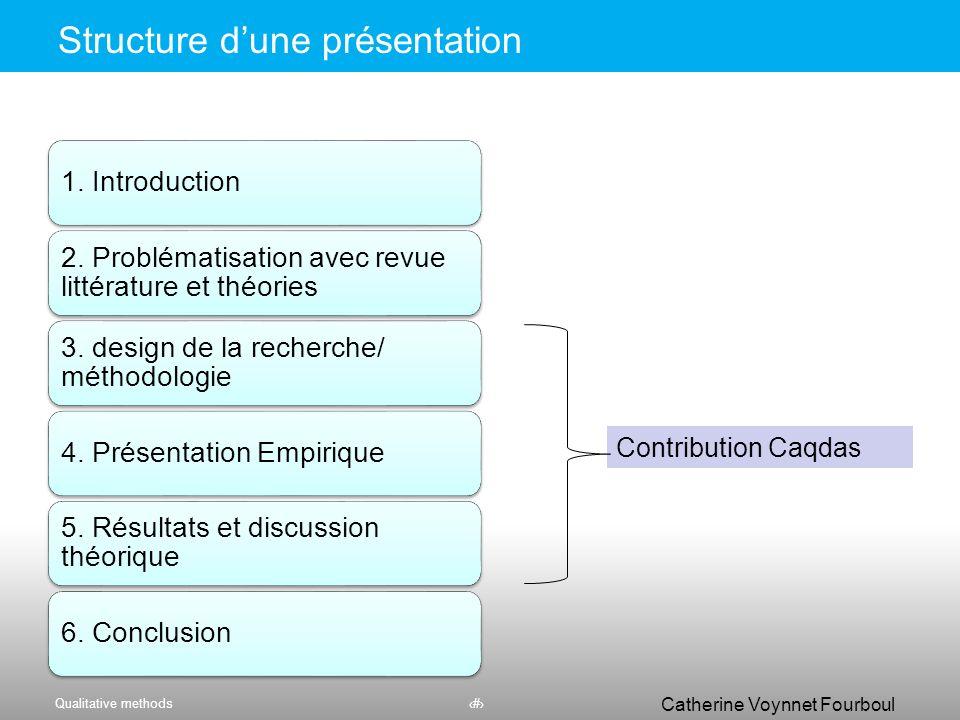 Qualitative methods56 Catherine Voynnet Fourboul Click to edit Master title style Ecrire la partie méthodologique du mémoire