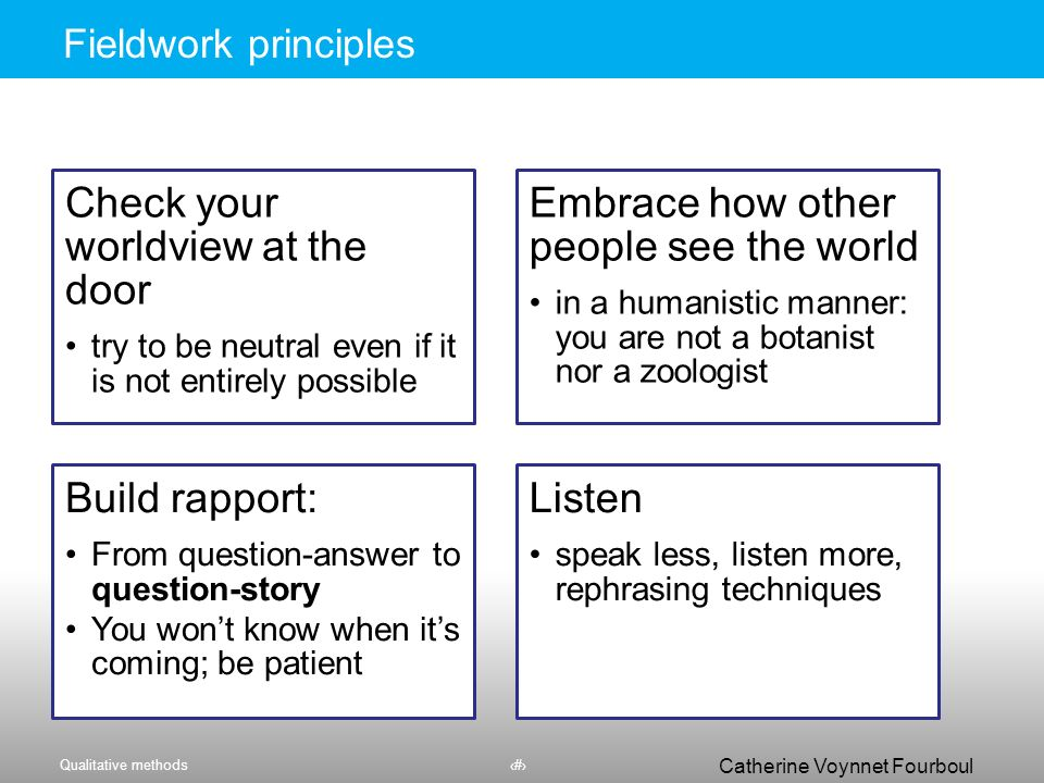 Qualitative methods6 Catherine Voynnet Fourboul Click to edit Master title styleFieldwork principles