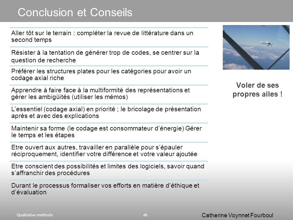 Qualitative methods64 Catherine Voynnet Fourboul Click to edit Master title style Qui interroger, observer ? Que faire avec ? Analyser les données Pla