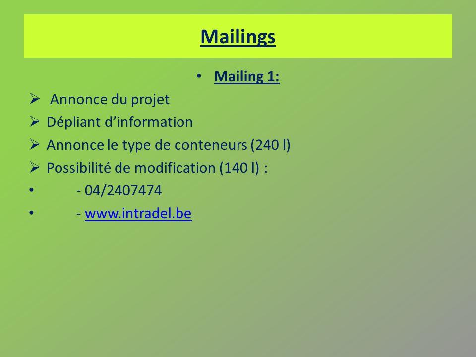 Mailings Mailing 1: Annonce du projet Dépliant dinformation Annonce le type de conteneurs (240 l) Possibilité de modification (140 l) : - 04/2407474 -