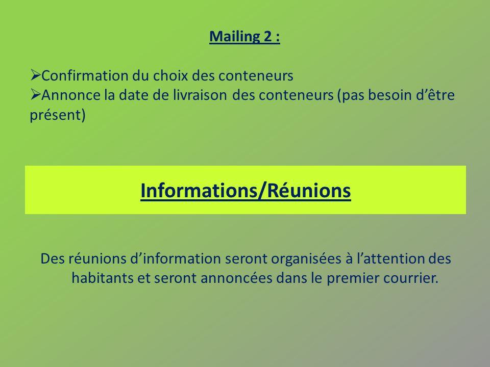 Informations/Réunions Des réunions dinformation seront organisées à lattention des habitants et seront annoncées dans le premier courrier. Mailing 2 :