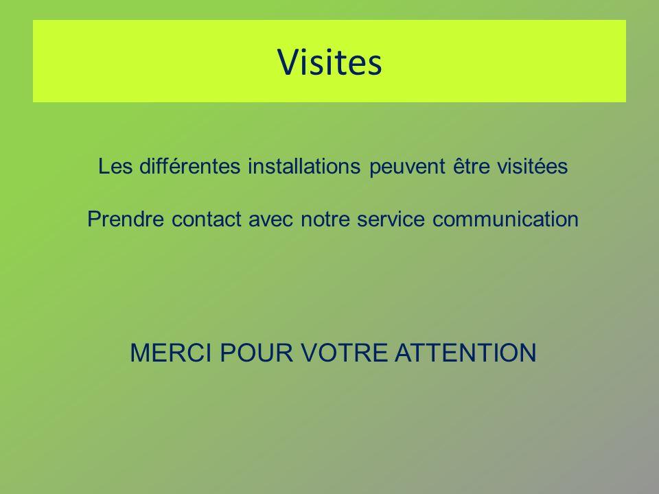 Visites Les différentes installations peuvent être visitées Prendre contact avec notre service communication MERCI POUR VOTRE ATTENTION