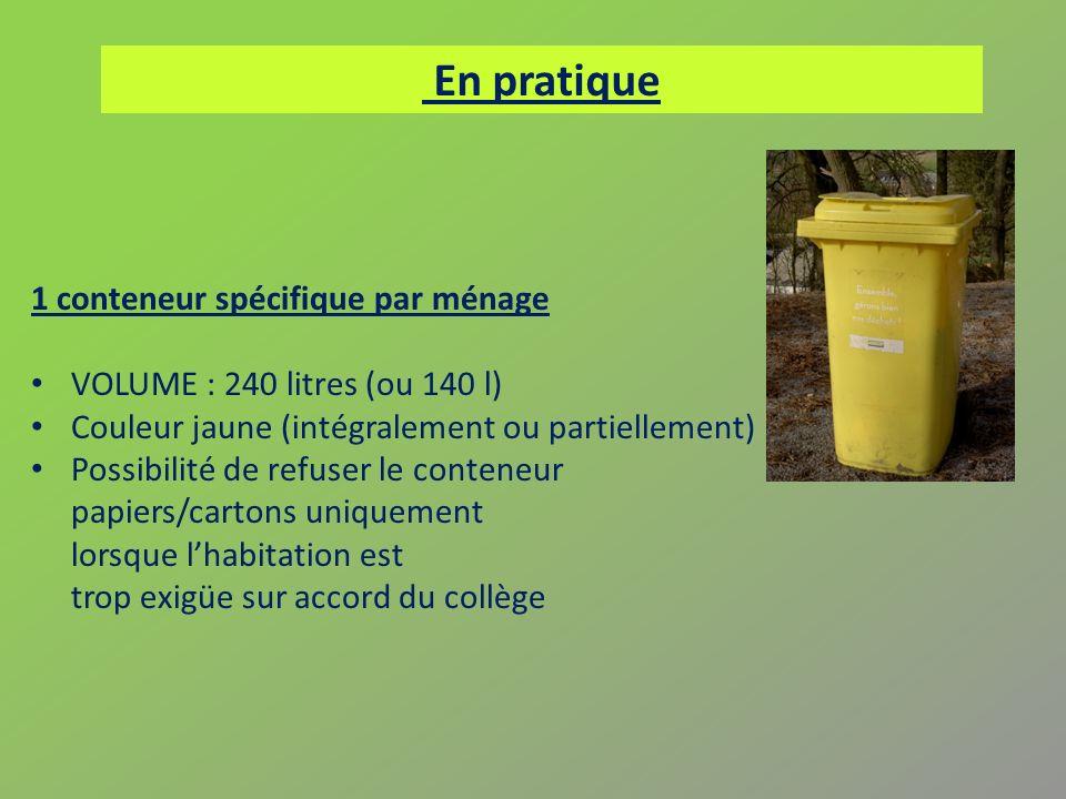 1 conteneur spécifique par ménage VOLUME : 240 litres (ou 140 l) Couleur jaune (intégralement ou partiellement) Possibilité de refuser le conteneur pa