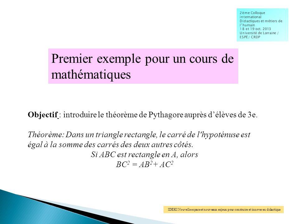 IDEKI Nouvelle espace et nouveaux enjeux pour construire et innover en didactique Premier exemple pour un cours de mathématiques Objectif : introduire le théorème de Pythagore auprès délèves de 3e.