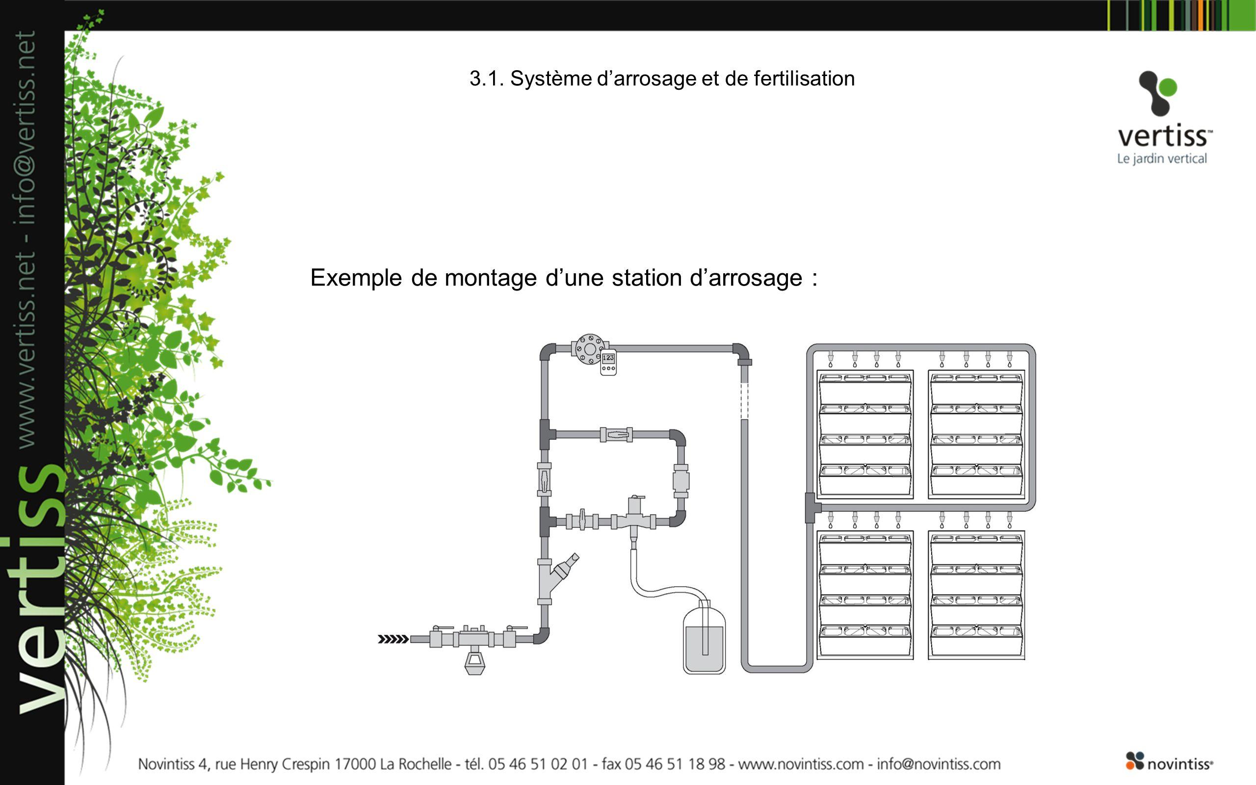 Exemple de montage dune station darrosage : 3.1. Système darrosage et de fertilisation