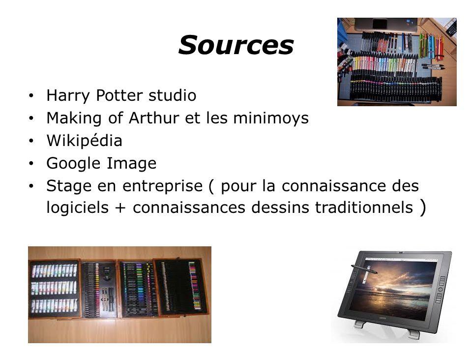 Sources Harry Potter studio Making of Arthur et les minimoys Wikipédia Google Image Stage en entreprise ( pour la connaissance des logiciels + connaissances dessins traditionnels )