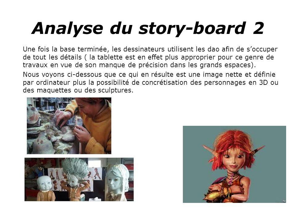 Analyse du story-board 2 Une fois la base terminée, les dessinateurs utilisent les dao afin de soccuper de tout les détails ( la tablette est en effet plus approprier pour ce genre de travaux en vue de son manque de précision dans les grands espaces).