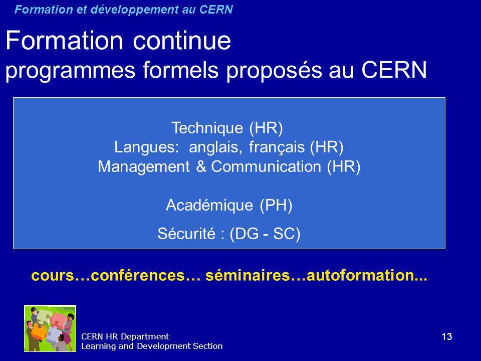13 CERN HR Department Learning and Development Section Formation continue programmes formels proposés au CERN cours…conférences… séminaires…autoformat