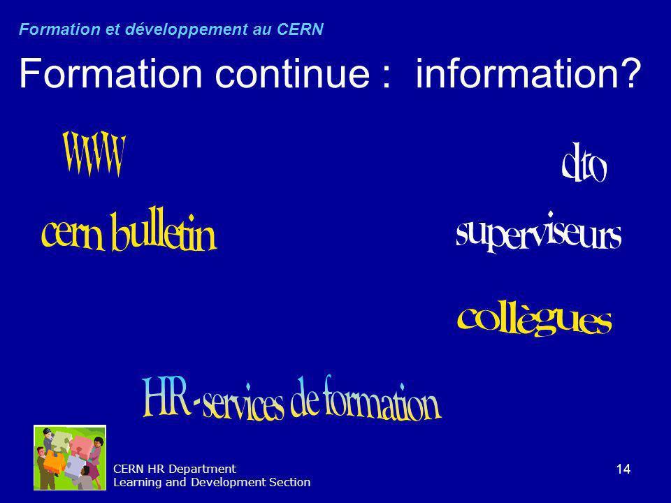 14 CERN HR Department Learning and Development Section Formation continue : information? Formation et développement au CERN