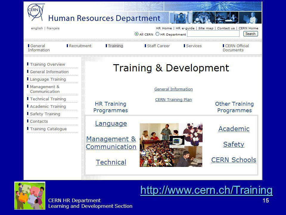 15 CERN HR Department Learning and Development Section http://www.cern.ch/Training