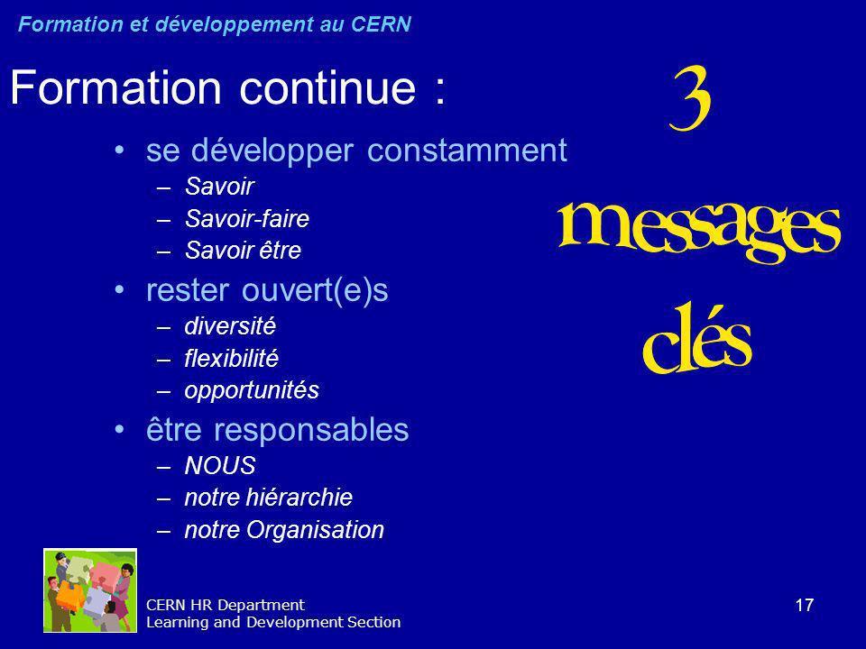 17 CERN HR Department Learning and Development Section Formation continue : se développer constamment –Savoir –Savoir-faire –Savoir être rester ouvert