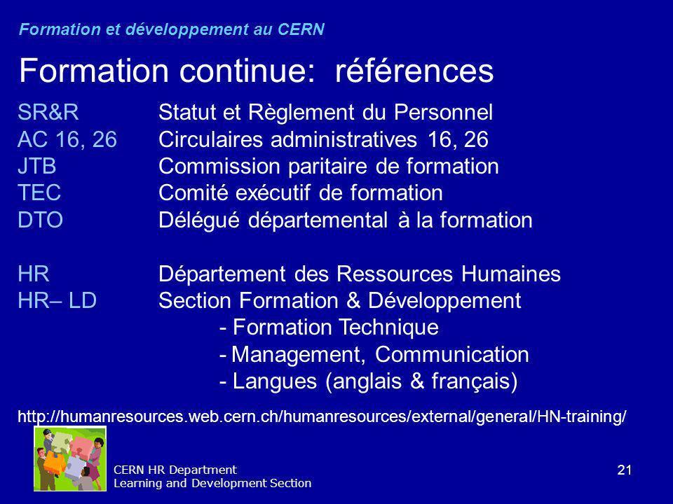 21 CERN HR Department Learning and Development Section SR&R Statut et Règlement du Personnel AC 16, 26 Circulaires administratives 16, 26 JTB Commissi